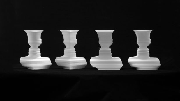 Four vases from the same faces
