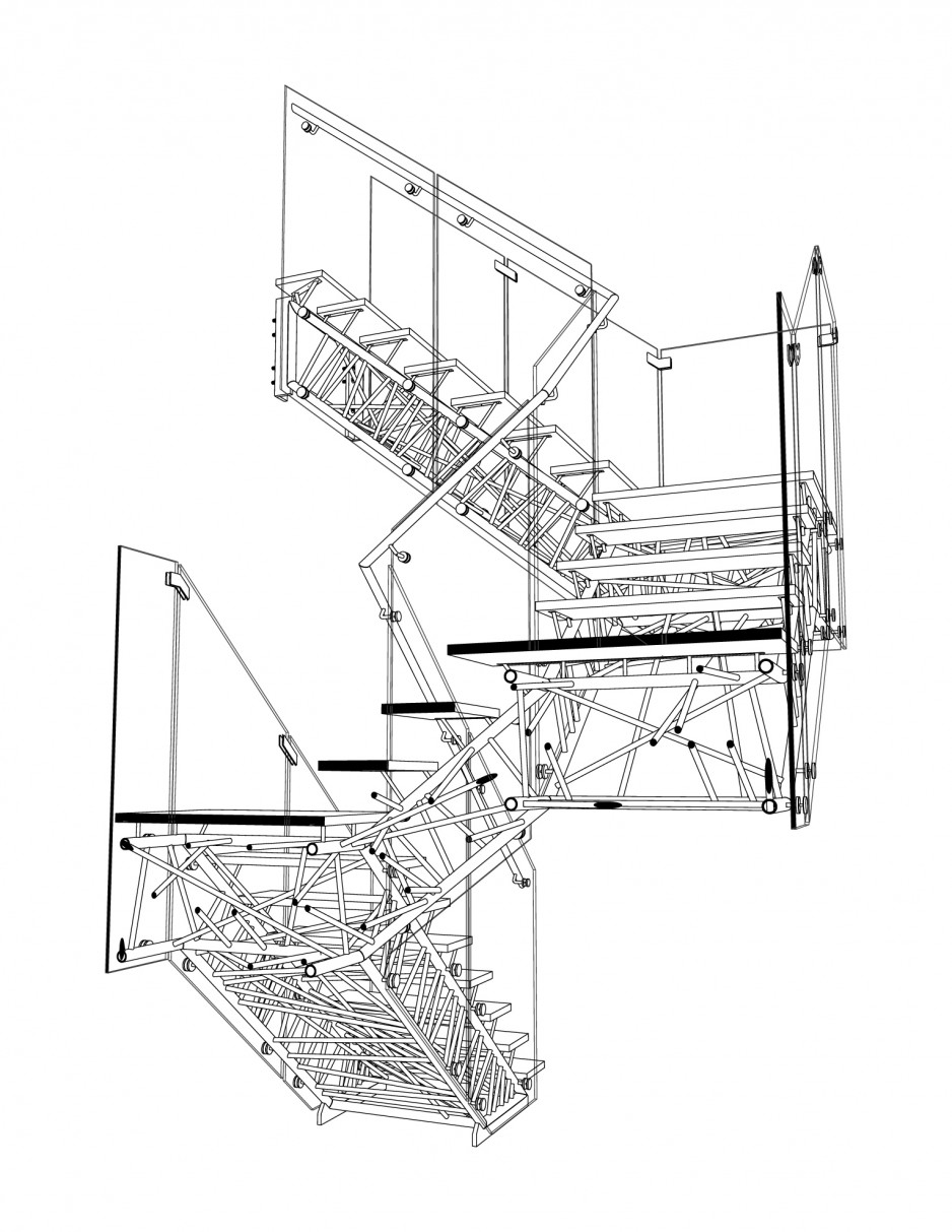Genetic Stair section perspective drawing
